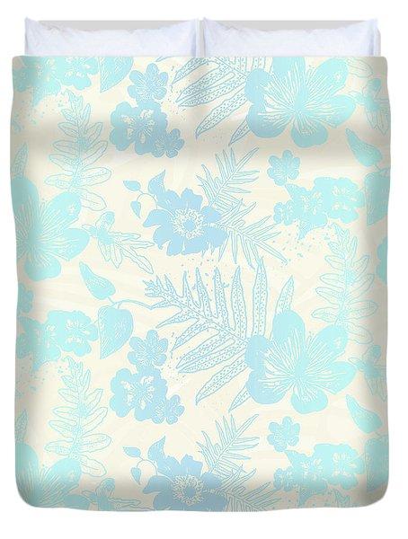 Aloha Damask Cream Aqua Duvet Cover