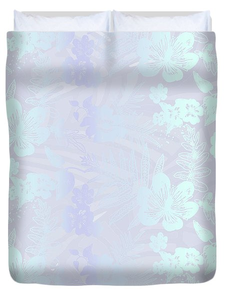 Aloha Damask Gray Aqua Duvet Cover