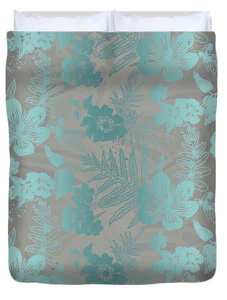 Aloha Damask Taupe Aqua Duvet Cover