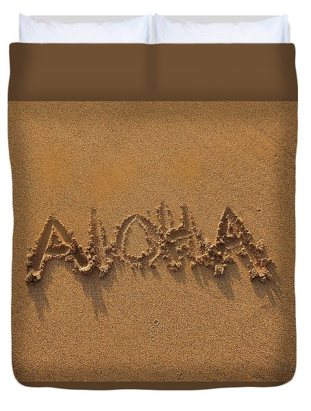Aloha In The Sand Duvet Cover by Pamela Walton