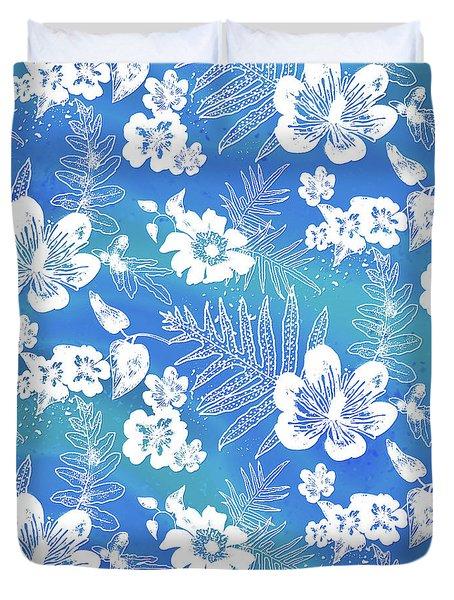 Aloha Lace Kaua'i Blue Duvet Cover