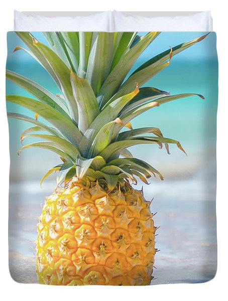 Duvet Cover featuring the photograph Aloha Pineapple Beach by Sharon Mau