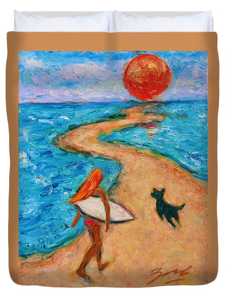 Duvet Cover featuring the painting Aloha Surfer by Xueling Zou