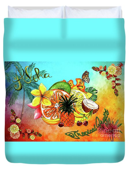 Duvet Cover featuring the digital art Aloha Tropical Fruits By Kaye Menner by Kaye Menner