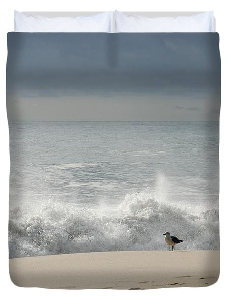 Alone - Jersey Shore Duvet Cover by Angie Tirado