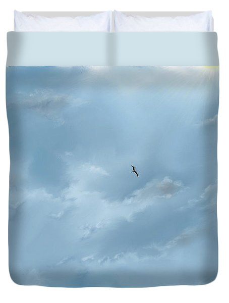 Duvet Cover featuring the digital art Alone by Darren Cannell