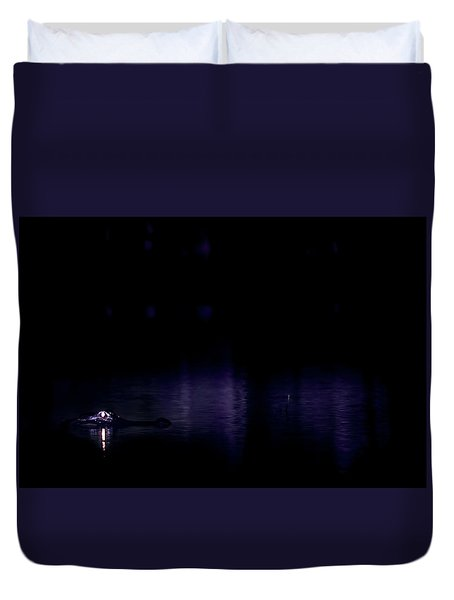 Duvet Cover featuring the photograph Alone In The Dark by Mark Andrew Thomas