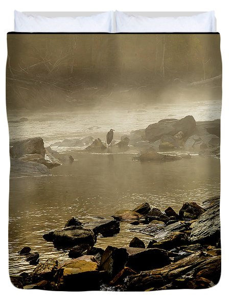 Duvet Cover featuring the photograph Alone In The Mist by Iris Greenwell