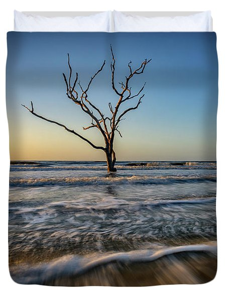 Duvet Cover featuring the photograph Alone In The Water by Rick Berk