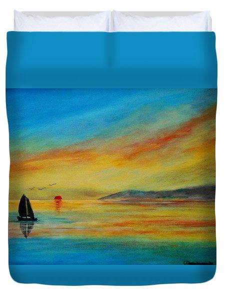Alone In Winter Sunset Duvet Cover