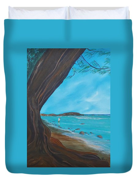 Alone On The Beach Duvet Cover