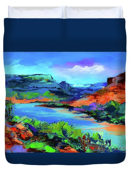 Along Colorado River - Utah Duvet Cover by Elise Palmigiani