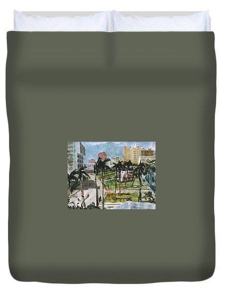 Along Flagler Drive Duvet Cover