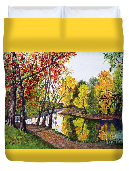 Along The Blanchard Duvet Cover by Nancy Cupp