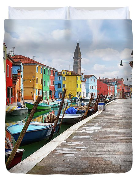 Along The Canal In Burano Island Duvet Cover by Evgeni Dinev