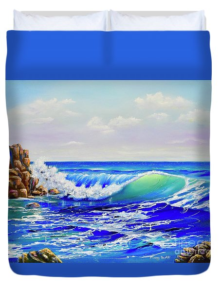 Duvet Cover featuring the painting Along The Coast by Mary Scott