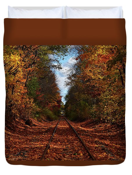 Along The Rails Duvet Cover by Tricia Marchlik