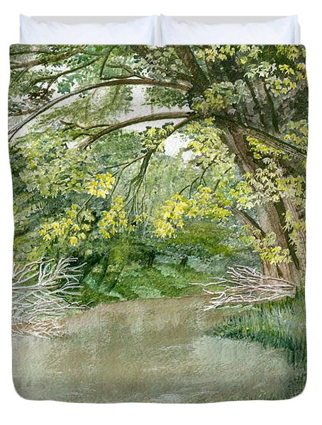 Duvet Cover featuring the painting Along The Susquehanna by Melly Terpening