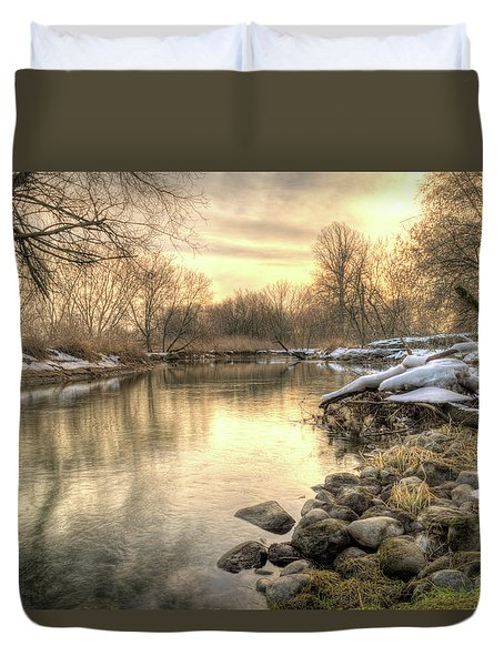 Along The Thames River Signed Duvet Cover