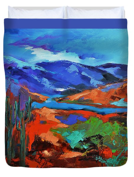 Along The Trail - Arizona Duvet Cover by Elise Palmigiani