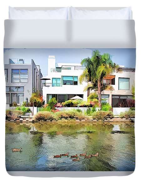 Duvet Cover featuring the photograph Along The Venice Canals by Chuck Staley