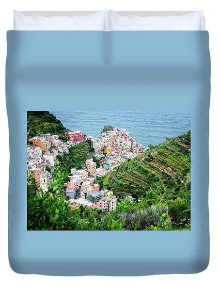 Along The Via Del Amore Duvet Cover