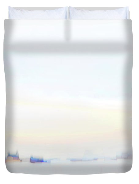 Along The Winter River Duvet Cover
