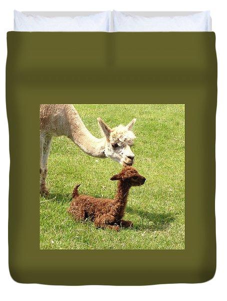 Alpaca And Cria10 Minutes Old Duvet Cover