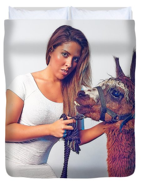 Alpaca Mr. Tex And Breanna Duvet Cover by TC Morgan