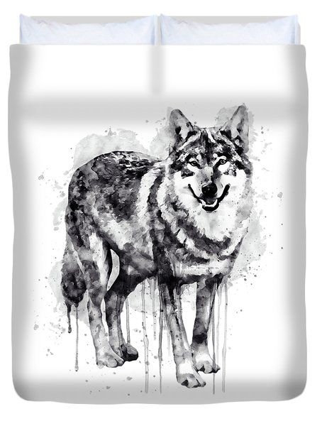 Alpha Wolf Black And White Duvet Cover by Marian Voicu