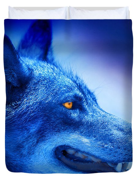 Alpha Wolf Duvet Cover by Mal Bray