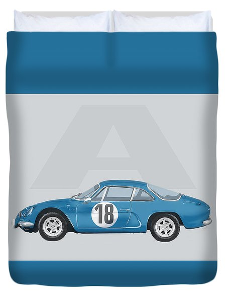 Duvet Cover featuring the mixed media Alpine A110 by TortureLord Art
