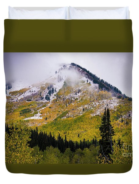 Duvet Cover featuring the photograph Alpine Loop Autumn Storm - Wasatch Mountains  by Gary Whitton