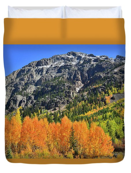 Duvet Cover featuring the photograph Alpine Loop Road Aspens by Ray Mathis