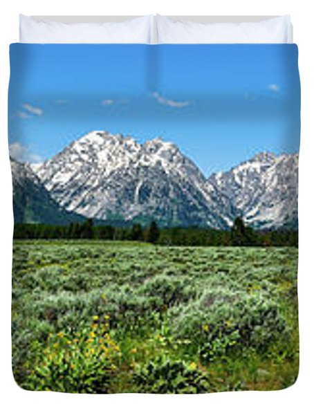 Alpine Meadow Teton Panorama II Duvet Cover by Greg Norrell