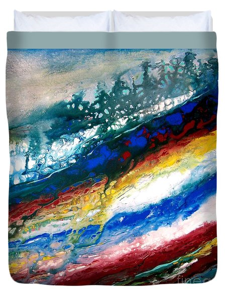 Duvet Cover featuring the painting Alpine River Run by Patricia L Davidson