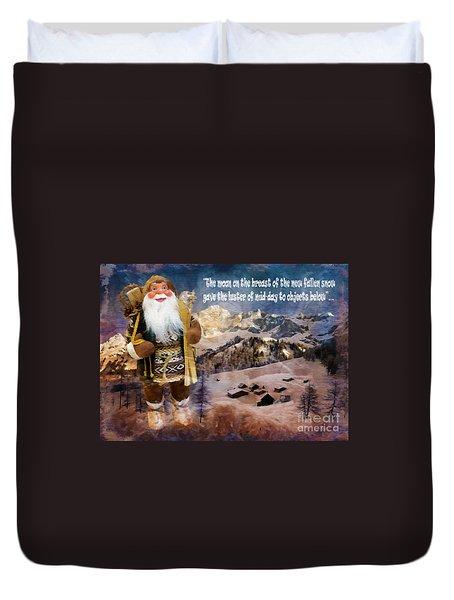 Alpine Santa Card 2015 Duvet Cover