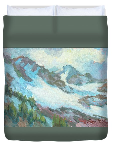 Duvet Cover featuring the painting Alps In Switzerland by Diane McClary