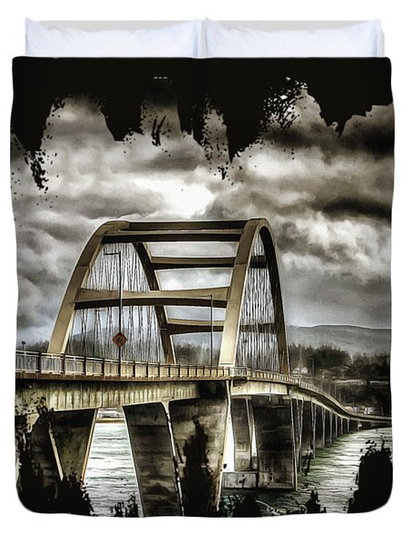 Duvet Cover featuring the photograph Alsea Bay Bridge by Thom Zehrfeld