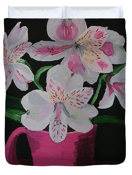 Duvet Cover featuring the painting Alstroemeria In Mug by Joshua Redman