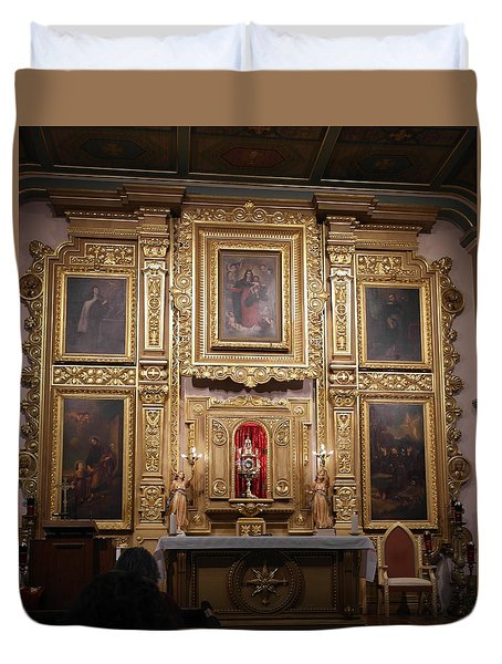 Duvet Cover featuring the photograph Altarpiece - Old Mission Church Of Los Angeles by Michele Myers