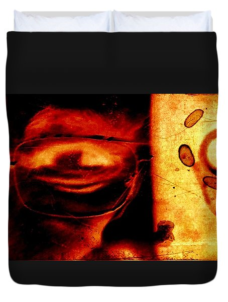 Altered Image In Red Duvet Cover by Dan Twyman