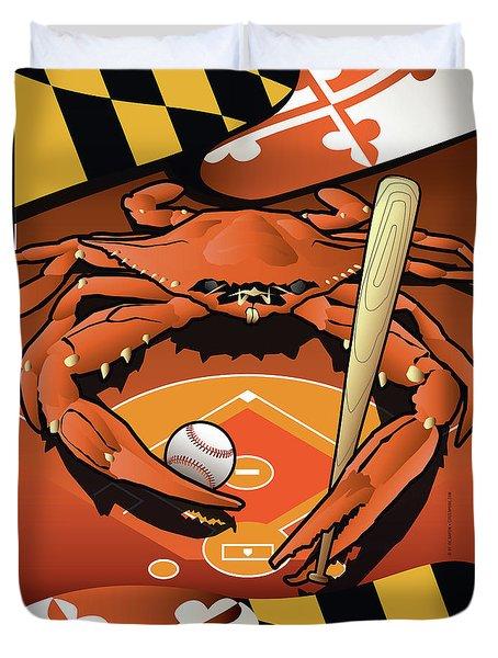 Baltimore Orioles Baseball Crab Maryland Duvet Cover