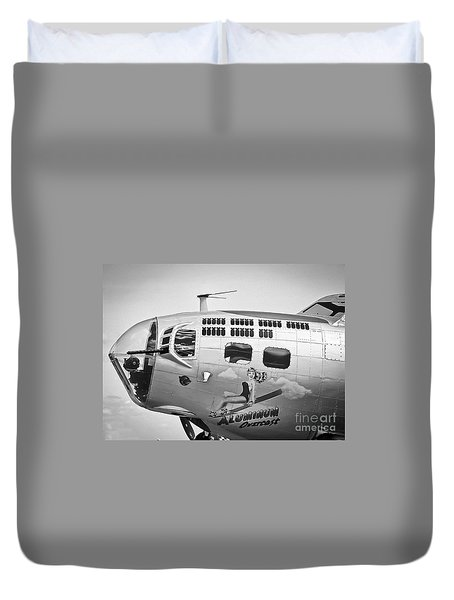 Duvet Cover featuring the photograph Aluminum Overcast - B-17 by Ricky L Jones