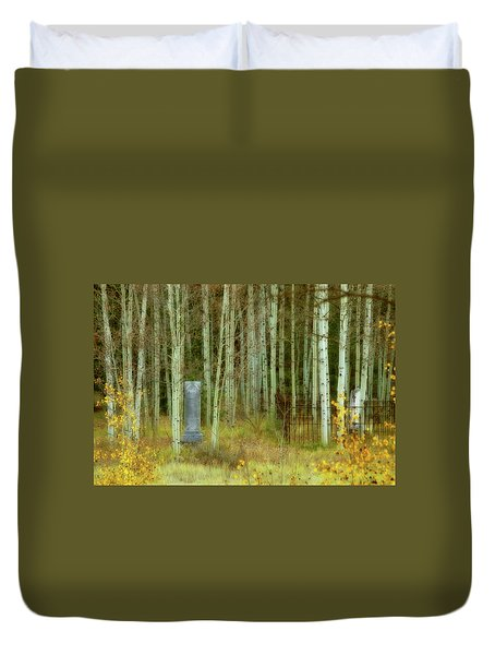 Duvet Cover featuring the photograph Alvarado Cemetery 41 by Marie Leslie