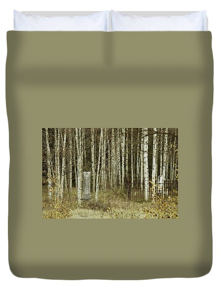 Duvet Cover featuring the photograph Alvarado Cemetery 42 by Marie Leslie