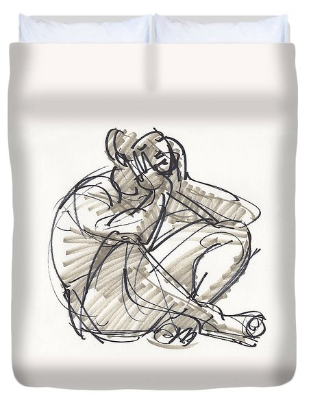 Duvet Cover featuring the drawing Alvin by Judith Kunzle