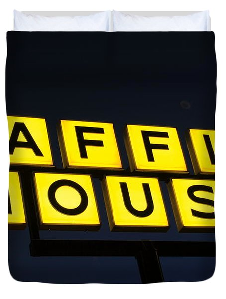Always Open Waffle House Classic Signage Art  Duvet Cover