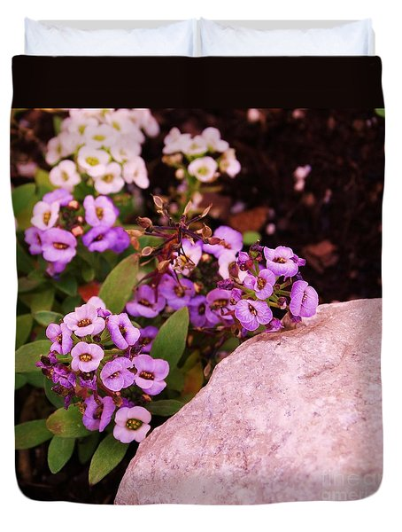 Duvet Cover featuring the photograph Alyssum Rock by J L Zarek
