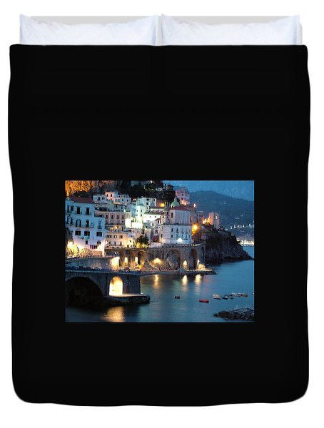 Amalfi Coast At Night Duvet Cover